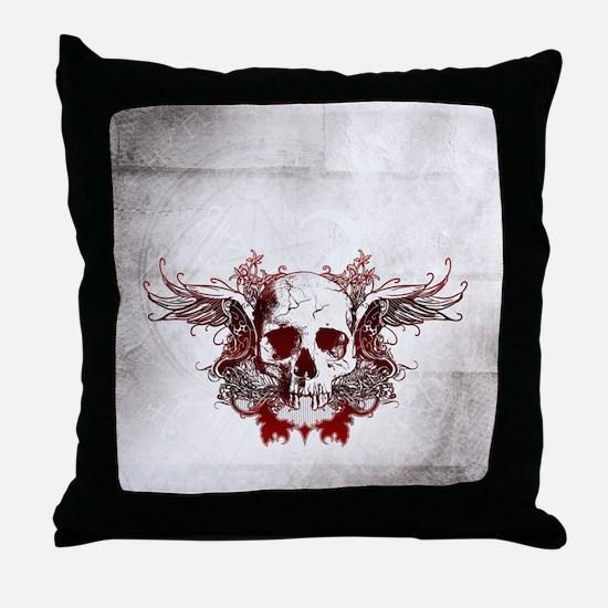 Dark Red Skull Throw Pillow