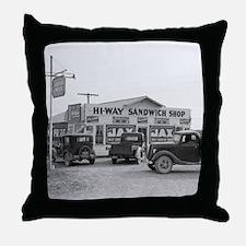 Hi-Way Sandwich Shop, 1939 Throw Pillow