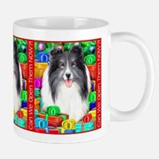 Sheltie Christmas Bi Black Mug