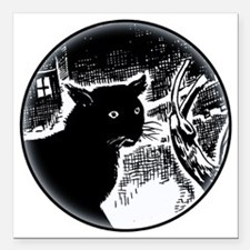 "Black Cat Path Square Car Magnet 3"" x 3"""