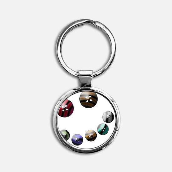 Those crazy Button Eyes Round Keychain