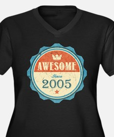 Awesome Since 2005 Women's Dark Plus Size V-Neck T