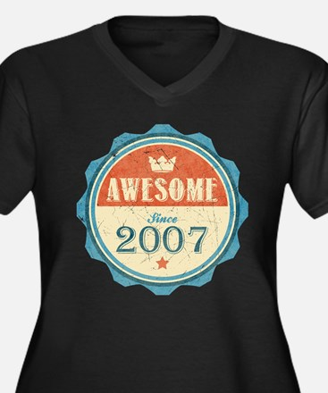 Awesome Since 2007 Women's Dark Plus Size V-Neck T