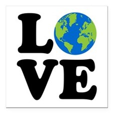 "Love Earth Square Car Magnet 3"" x 3"""