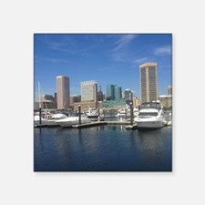 "Baltimore Inner Harbor boat Square Sticker 3"" x 3"""