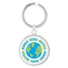 Reduce Reuse Recycle Round Keychain