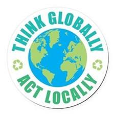 Think Globally, Act Locally Round Car Magnet