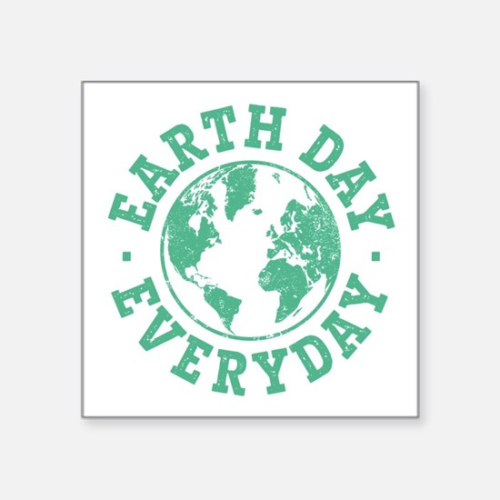 """Vintage Earth Day Everyday Square Sticker 3"""" x 3"""""""