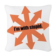 I'm with Stupid Woven Throw Pillow