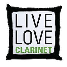 Live Love Clarinet Throw Pillow