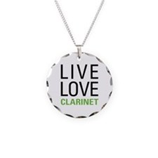 Live Love Clarinet Necklace Circle Charm