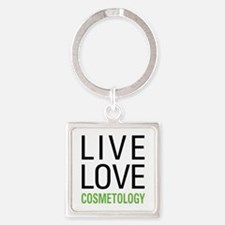 Live Love Cosmetology Square Keychain