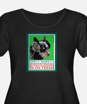 Paco The Wonder Dog Listens In Plus Size T-Shirt