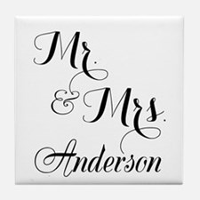 Mr and Mrs Personalized Monogrammed Tile Coaster