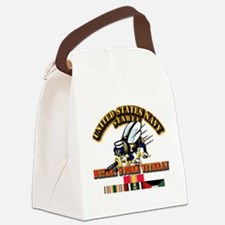 Navy - Seabee - Desert Storm Vet Canvas Lunch Bag