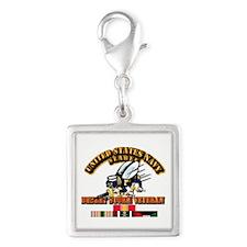 Navy - Seabee - Desert Storm Silver Square Charm