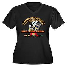 Navy - Seabe Women's Plus Size V-Neck Dark T-Shirt