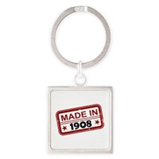 Stamped Made In 1908 Square Keychain