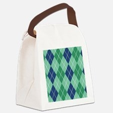 Argyle Blue and Green Napkin Canvas Lunch Bag