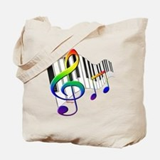 Rainbow Treble Clef Tote Bag