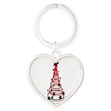 Christmas Tree swirls n star mottled red Keychains