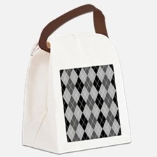 Black and gray Argyle Canvas Lunch Bag