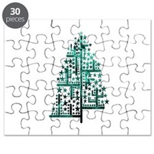 Christmas tree green of shapes mottled blue Puzzle