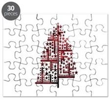 Christmas tree green of shapes mottled red Puzzle