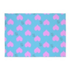 Pink Heart Raindrops 5'x7'Area Rug