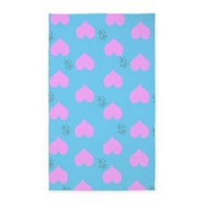 Pink Heart Raindrops 3'x5' Area Rug