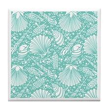 Vintage Seashell Pattern Tile Coaster