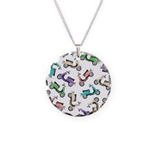 Cute Retro Scooter Print Necklace