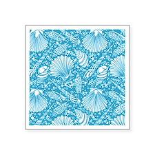"Vintage Seashell Pattern Square Sticker 3"" x 3"""