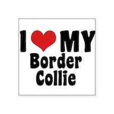I Love My Border Collie Oval Sticker