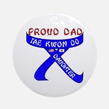 TKD Dad Daughter Ornament (Round)