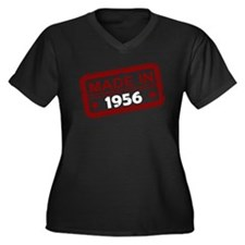 Stamped Made In 1956 Women's Dark Plus Size V-Neck