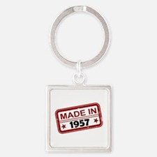Stamped Made In 1957 Square Keychain