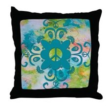 Peace Damask Throw Pillow