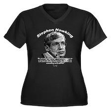 Stephen Hawking 01 Women's Plus Size V-Neck Dark T