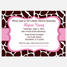 Giraffe Print Pink Shower Inviation Invitations