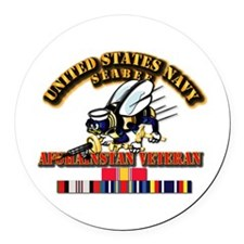 Navy - Seabee - Afghanistan Vet Round Car Magnet