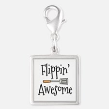 Flippin Awesome Cooking Silver Square Charm