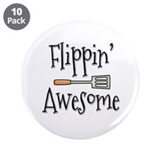 """Flippin Awesome Cooking 3.5"""" Button (10 pack)"""