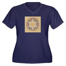 STAR OF DAVI Women's Plus Size V-Neck Dark T-Shirt