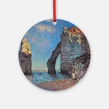 Monet Cliffs at Etretat Round Ornament