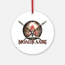 Molon Labe - Spartan Shield and Swords Ornament (R