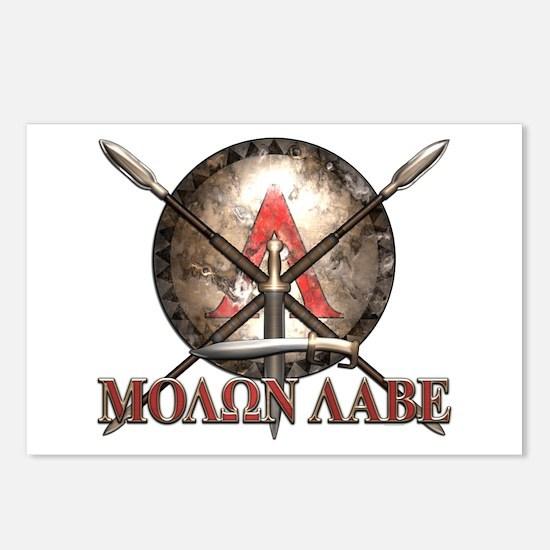 Molon Labe - Spartan Shield and Swords Postcards (
