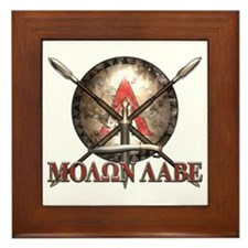 Molon Labe - Spartan Shield and Swords Framed Tile