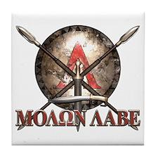Molon Labe - Spartan Shield and Swords Tile Coaste