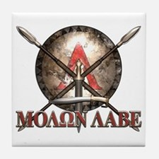 Molon Labe - Spartan Shield and Swords Tile Coaste